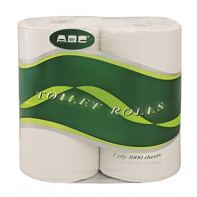 ABC 0-881836 ABC  TOILET PAPER ROLLS DELUXE 1PLY 1000 SHEET POLYBAG 48 PER BAG