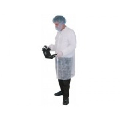 LAB  55003LAB COAT PP WHITE VELCRO CLOSE NO POCKET 50 CARTON  LAB