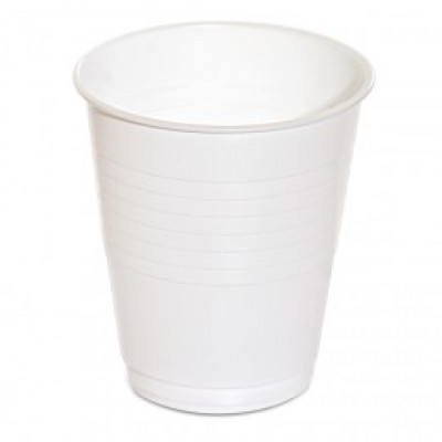 CUPS  6PL PLASTIC 6oz 170ml WHITE RIS 1000 CARTON  CUPS