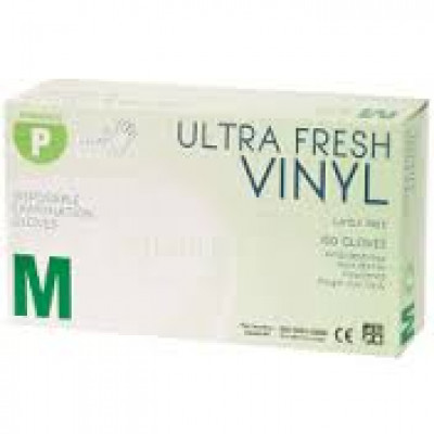 VINYL  468402/MED100 ULTRAFRESH CLEAR VINYL GLOVES POWDER FREE MEDIUM 100 PK
