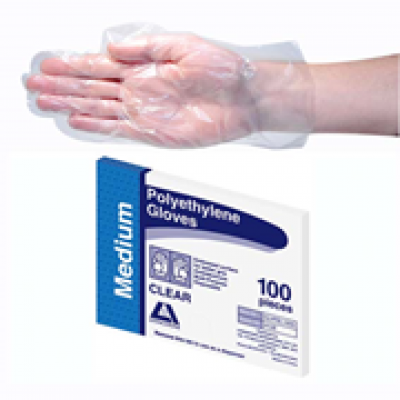 GLOVES  GLVPEL100M LIVINGSTONE INTERNATIONAL CLEAR GLOVE POLY MEDIUM 2500 CARTON GLOVES