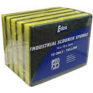 EDCO 18340  SCOURER SPONGE GREEN YELLOW 15x10cm HEAVY DUTY EDCO