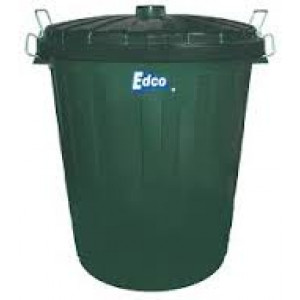 PLASTIC GARBAGE BIN 73 Lt GREEN WITH LID EDCO