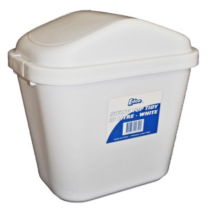 SWING TOP TIDY BIN WHITE 10 LITRE EDCO