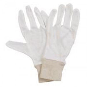 GLOVES  418018 GLOVE COTTON WHITE KNIT WITH CUFF 1 PAIR LADIES GLOVES