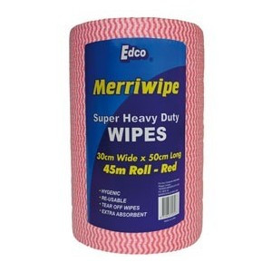 EDCO  56102 WIPING CLOTH MERRIWIPE ROLL 30X50CMX45M RED EDCO