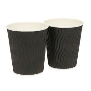 PAPER  CUP008 PAPER OFFEE CUP 8oz RIPPLED BLACK 500 CARTON
