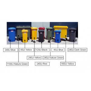 BIN 120LTR WHEELIE BIN COLOR CODED OPTIONS GARBAGE