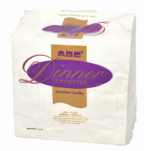 ABC  A-316W ABC  SERVIETTES DINNER PREMIUM 3PLY WHITE 1000'S