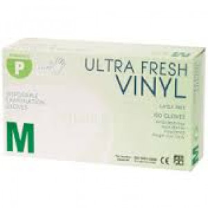 VINYL 468403/MED100 ULTRAFRESH CLEAR  VINYL GLOVES LOW POWDER MEDIUM 100 PACK