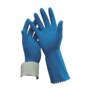RUBBER  443002/6-6.5 RUBBER GLOVE BLUE ECONOMY SILVER LINED SIZE 7