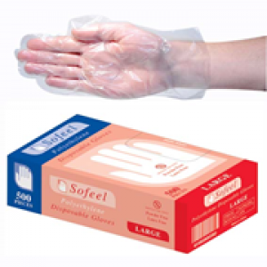GLOVES GLVPEL500L LIVINGSTONE INTERNATIONAL CLEAR GLOVE POLY LARGE 500's BOX GLOVES