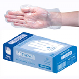 GLOVES  GLVPEL500M LIVINGSTONE INTERNATIONAL CLEAR GLOVE POLY MED 500'S BOX GLOVES