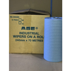 ABC 0-7024B ABC  WIPER ON A ROLL INDUSTRIAL BLUE  24cmx70mt 4 ROLLS PER CARTON