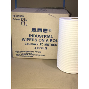 ABC 0-7024W ABC  WIPER ON ROLL INDUSTRIAL WHITE 24CMx70mtr 4 ROLLS PER CARTON